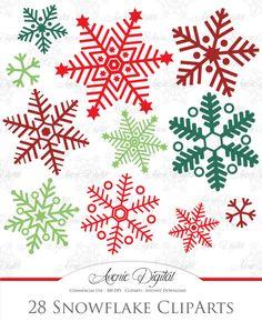 Christmas Snowflakes Cute Digital Clipart, Christmas Clip Art ...