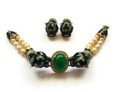 Rare Vintage Joseph Mazer Blue Leopard Pearl Bracelet and Earrings Set