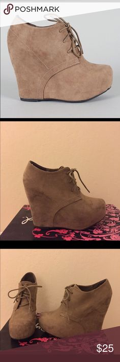 """Qupid Lace Up Wedge Bootie These taupe lace wedge booties have only been worn twice and are in great condition. They have a 5"""" wedge heel with a 2"""" hidden platform. I normally wear a 7.5 and they fit me perfectly. Qupid Shoes Ankle Boots & Booties"""