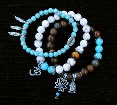 ON SALE  Buddha Om BELIEVE Yoga Charm Bracelet Set  by GrizzyLove, $45.00