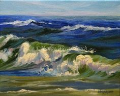 Nancy Wernersbach© Oil Second in my 8 x 10 wave series. Includes a contemporary white floating frame. Jones Beach, Dream Beach Houses, Ocean Scenes, Big Waves, Floating Frame, Artist Painting, Painting Inspiration, Original Art, Action