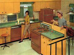 1960s Kitchen, Mid Century Modern Kitchen, Vintage Kitchen, Retro Kitchens, Kitchen Sink, Vintage China, Retro Vintage, Vintage Decor, Vintage Style