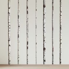 wall decals - Summer Birch Trees on wall behind  couch!