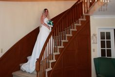 I alway wanted to come down spiral stairs when I got married, but it didn't happen. I al so happy Meg got to fullfill my dream :)