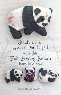 Embroidery, craft patterns and kits made just for you by littledear Felt Animal Patterns, Felt Crafts Patterns, Stuffed Animal Patterns, Fabric Crafts, Sewing Crafts, Sewing Projects, Sewing Patterns, Felt Projects, Felt Embroidery
