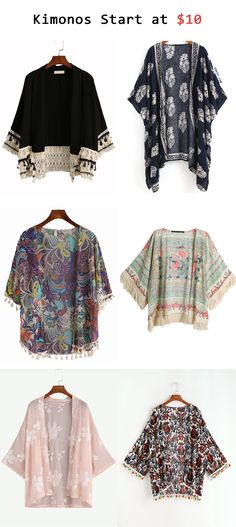 Kimonos start at $10