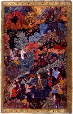The Earliest Datable Mughal Painting Fig. Allegory of the Celebrations for Akbar's Circumcision at Khwaja Seh Yaran Mughal at Kabul, c. 1546 AD Attributed to Dust Muhammad From the Jahangir Album Painting Inspiration, Art Inspo, Motif Art Deco, Mughal Paintings, Iranian Art, Funky Art, Psychedelic Art, Pretty Art, Islamic Art