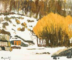 Georges Borgeaud - Hiver à Peney (Genève), 1982 - Huile sur toile, 46x55 cm. Artists, Painting, Oil On Canvas, Winter, Auction, Artist, Painting Art, Paintings, Painted Canvas