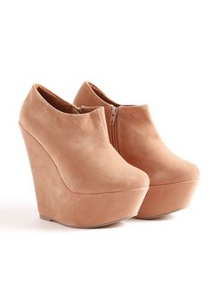 Zafira Dark Nude Suede Look Platform Wedge Ankle Boot-- getting these for fall!!!!!
