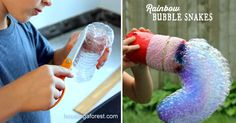 Did you know you can use soap to build Rainbow Bubble Snakes?