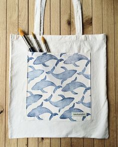 Hand stamped Tote Bags Whale Tote bags Pocket by Loreillustration