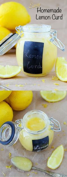 Easy Homemade Lemon Curd - An easy lemon curd recipe that only requires one saucepan! A versatile sweet and tart custard that can be used to fill cupcakes, cakes, spread on scones scones, drizzle over lemon bread pudding and so much more! Lemon Desserts, Lemon Recipes, Sweet Recipes, Dessert Recipes, Tart Recipes, Easy Lemon Curd, Lemon Curd Recipe, Chutney, Lemond Curd