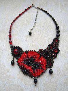 bead embroidery by olga orlova |  Poppy Necklace