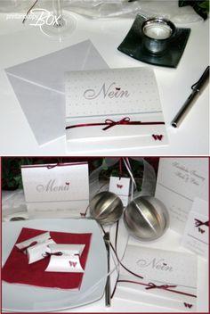 """Edel, ausgefallen und zugleich mutig! Hochzeitseinladung mit """"Nein"""" als Aufdruck. Eure Gäste werden staunen! Beim öffnen wird das Geheimnis gelüftet: Nein,..... wir feiern nicht ohne Euch :-)"""