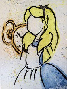 Alice in wonderland watercolor painting