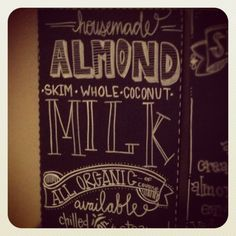Chalkboard menu milk