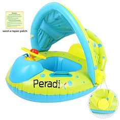 Peradix Baby Float Water Toys with Inflatable Canopy Sunshade Swimming Pool Boat Floating Ring (Apple Green Toddler Pool Floats, Pool Floats For Kids, Pontoon Boat Accessories, Baby Alive Doll Clothes, Baby Float, Fun Outdoor Activities, Baby Pool, Pool Toys, Floating In Water