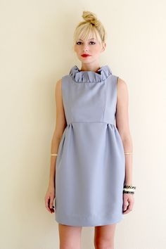 Go-Go Dress. Love this blue paired with her chinese knot bun.