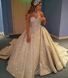 sparkly champagne wedding dresses, long #weddingdress, bridal gown 2017, ball gown wedding dresses, sweetheart wedding dresses