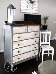 Lake Girl Paints painted dresser gray white natural wood