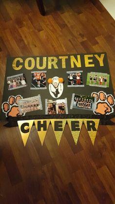 Our attempt at a Senior Night Cheer poster - board. Cheer Camp, Football Cheer, Cheer Box, Football Homecoming, Varsity Cheer, Softball, Senior Night Gifts, Senior Day, Cheer Gifts