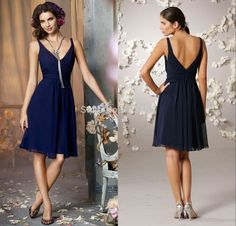 Find More Bridesmaid Dresses Information about 2015 Custom Made Navy Bridesmaid Dresses A line V neck Knee length Chiffon Wedding Short Bridesmaid Dress with Crisscross  TT325,High Quality dress for maid of honor,China dress up clothes games Suppliers, Cheap dress ceremony from Panda Apparel on Aliexpress.com