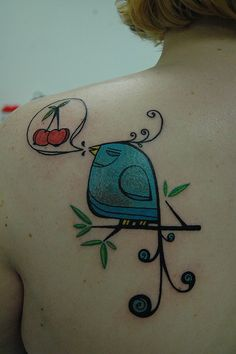 tattoo of bird and cherries .... art