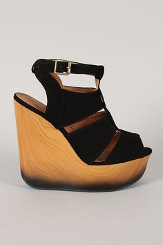 Qupid Cafe-03A Nubuck Strappy Platform Wedge