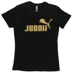 This t-shirt features a lion jumping over the word Judah. The design is made with high quality gold glitter flake heat transfer material.
