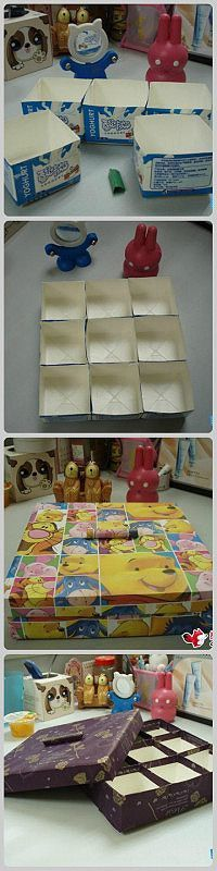 Carton transformed into useful trinket box Craft Storage Containers, Diy Storage, Diy Organization, Recycled Crafts, Diy And Crafts, Crafts For Kids, Diy Recycle, Recycling, Reuse