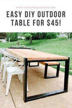 Deck Table, Diy Outdoor Table, Outdoor Living, Outdoor Decor, Outdoor Patios, Outdoor Spaces, Outdoor Kitchens, Outdoor Patio Tables, Dining Table