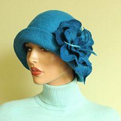 Felted hat blue Millennial Blue hat Blue hat Blue by ZiemskaArt