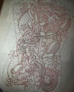 Image may contain: drawing Japanese Tattoo Art, Japanese Art, San Diego Tattoo, Backpiece Tattoo, Japan Tattoo, Snake Tattoo, Tiger, Back Tattoo, Sleeve Tattoos