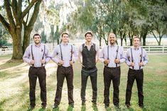 Fall groomsmen in suspenders