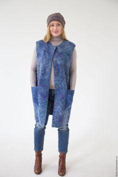 """Купить Жилет-пальто валяное """"Небо осени"""". - васильковый, синий, жилет-пальто, длинный жилет"""