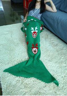 Christmas Deer Pattern Mermaid Tail Blanket