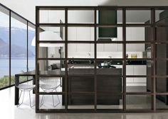Kitchen Designs. Modern Dark Brown White Modern Kitchen Design Ideas Completed with Awesome Wooden Room Divider in Matching Color. 40 Kitchen Designs with Cool Furniture Set