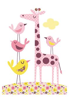 Nursery art girl baby girls print set patchwork por BubbleGumYears