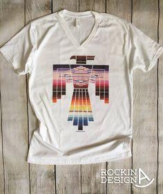 Southwest Thunderbird v-neck unisex t shirt / by RockinAdesign western, southwestern, serape, sarape, southwest, rodeo, thunderbird, native american