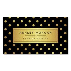 Luxury Black and Gold Glitter Polka Dots Double-Sided Standard Business Cards (Pack Of 100). Make your own business card with this great design. All you need is to add your info to this template. Click the image to try it out!