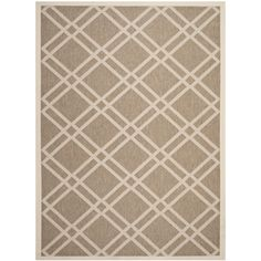 Safavieh Indoor/ Outdoor Courtyard Crisscross Pattern Brown/ Bone Rug (8' x 11') (CY6923-242-8), Size 8' x 10' (Olefin, Geometric)