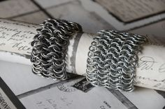 Double european 4 in 1 chainmail bracelet and european 6 in 1 chainmail bracelet. My selfmade chainmail is also on facebook @ Ivy's Scale Mail
