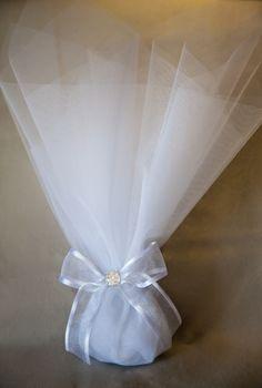μπομπονιερες γάμου τουλινη με κορδελα οργάντζας και μικρό στρας, mpomponiera gamou toulini me kordela organtzas kai mikro strauss