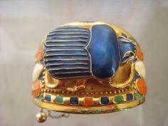 Antique HUGE Sterling Silver Vermiel & Enamel Egyptian Revival Scarab Bracelet