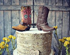 Western-cowgirl-wedding-hat-ivory-white-veil-rustic-bride-country-boots-cake by MorganTheCreator