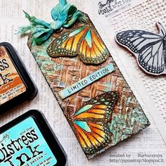Card Tags, Gift Tags, Tea Bag Art, Crafts For Kids, Arts And Crafts, Stampers Anonymous, Scrapbook Paper Crafts, Scrapbooking, Butterfly Cards