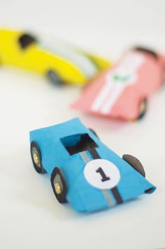 You make the car but can download the decals-free pdf-Upcycle - 5 Fun Cardboard Tube Crafts | The Junior