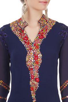 Shop Manish Malhotra - Navy blue embroidered long kurta Latest Collection Available at Aza Fashions
