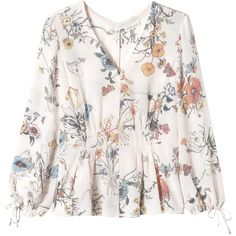 Rebecca Taylor Long Sleeve Meadow Floral Top ($275) ❤ liked on Polyvore featuring tops, blouses, womens clothes, pink combo, white tie blouse, white blouse, long sleeve blouse, pink blouse and floral print blouse