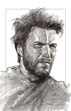 Leinil Yu: I hate drawing likeness. It's been a while and I need practice. photo ref googled (Fistful of Dollars/Clint Eastwood).